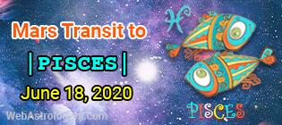 Mars transit Aquarius to Pisces