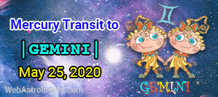 Mercury Transit Taurus to Gemini