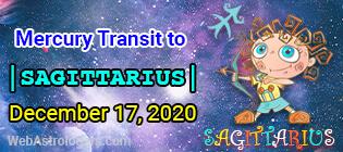 Mercury transit Scorpio to Sagittarius
