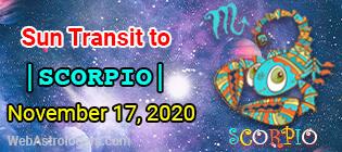 Sun Transit to Scorpio