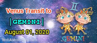 Venus Transit Taurus to Gemini