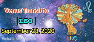 Venus Transit Cancer to Leo